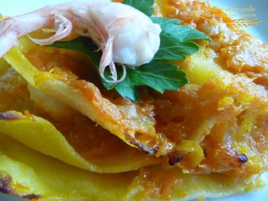 Lasagna zucca e gamberi