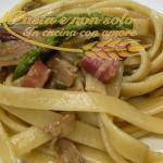 Tagliolini con asparagi, funghi porcini e pancetta