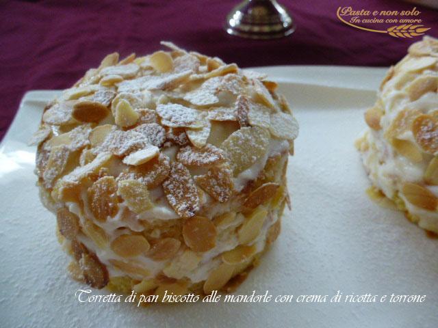 torretta di pan biscotto alle mandorle con crema di ricotta e torrone3