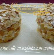 torretta di pan biscotto alle mandorle con crema di ricotta e torrone
