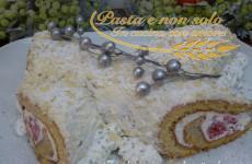 tronchetto con crema di ricotta e lamponi