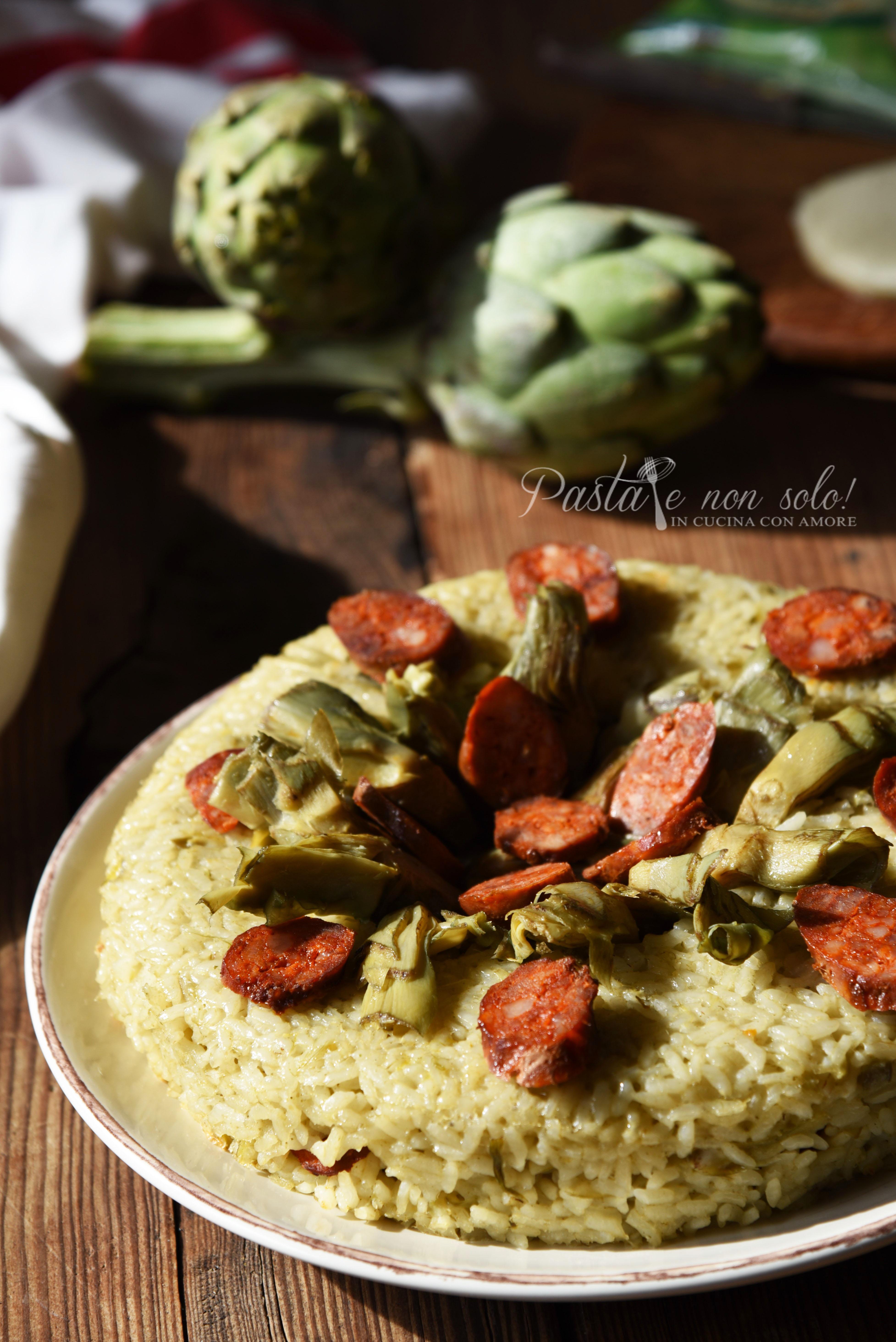 sformato di riso ai carciofi, salsiccia fresca e galbanino
