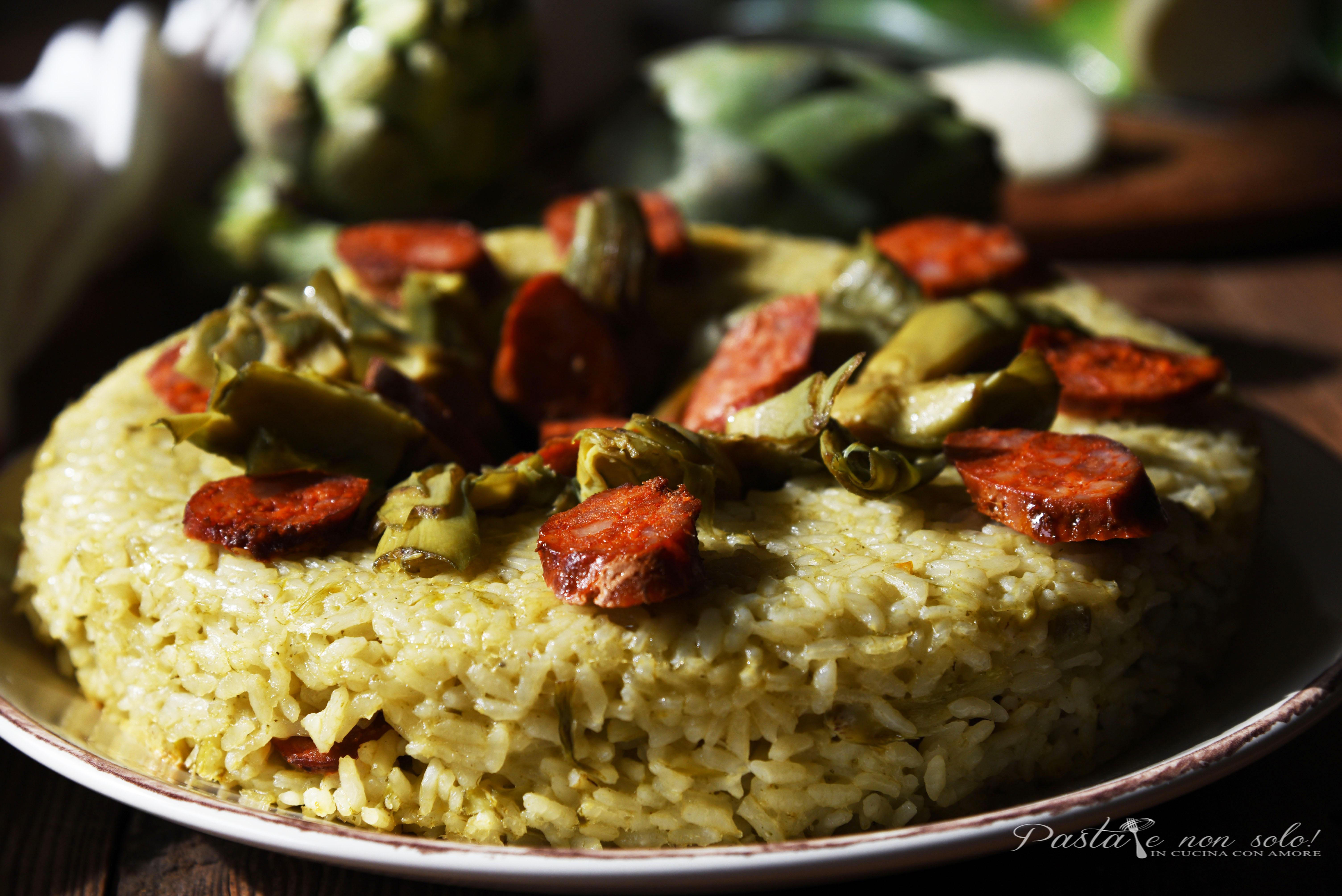 sformato di riso ai carciofi con salsiccia fresca e galbanino