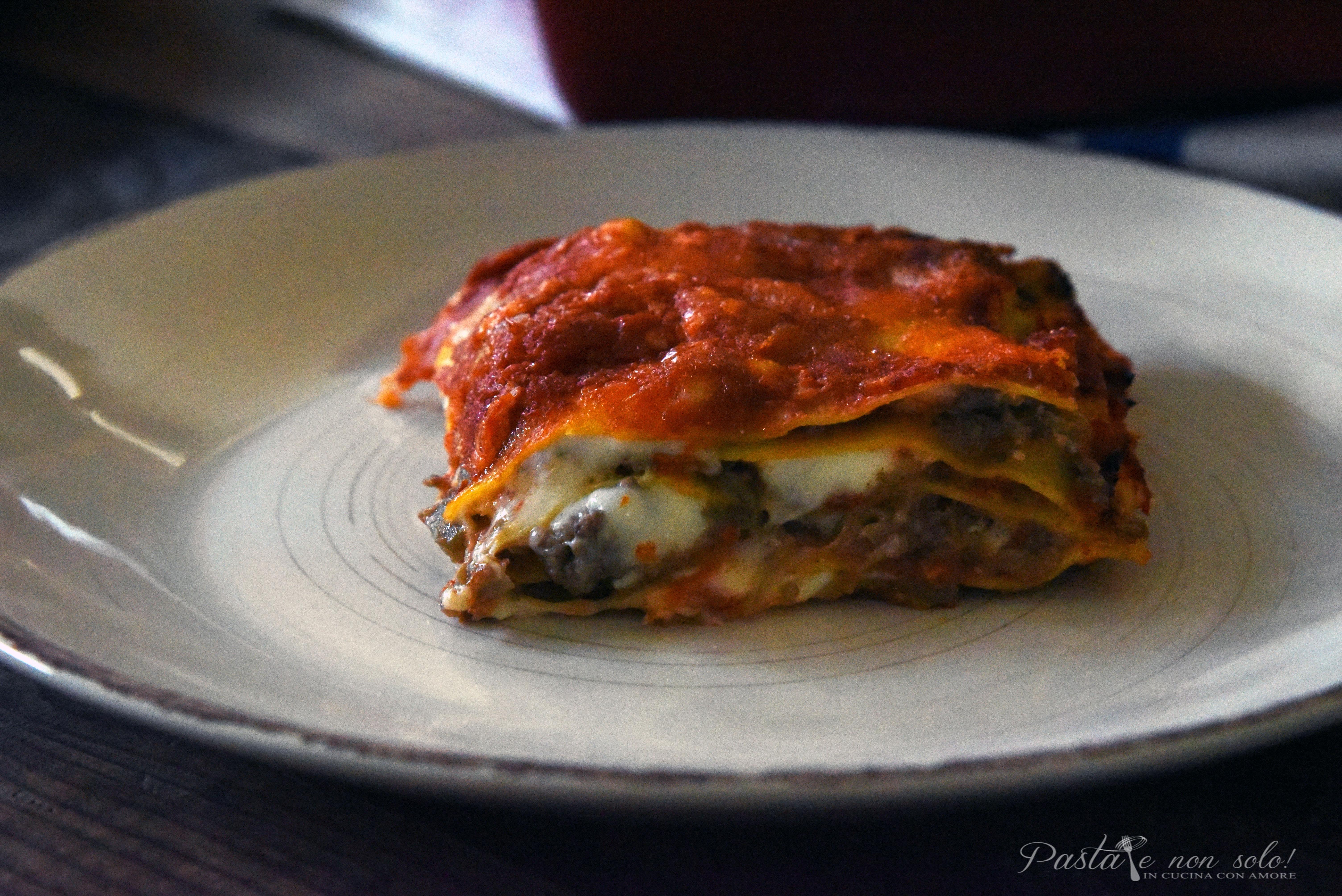 lasagna con polpa di melanzana carne tritata e salsiccia