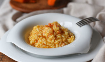 risotto zucca e gamberi freschi
